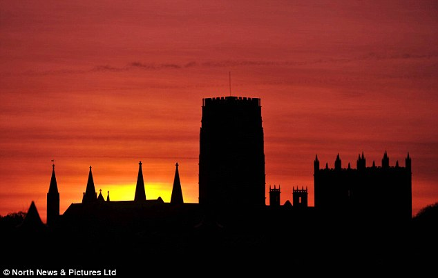 Calm before the storm: Winter is forecast to return this week with frosts and snow possible late next week (Picture shows Durham Cathedral)