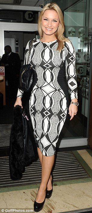 Seeing double: Sam Faiers (left) in the optical illusion dress at BBC Radio 1 studios today, and Natasha Hamilton in the same creation at ITV studio on Tuesday (right)