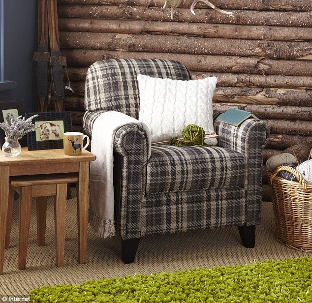 Maurice plaid chair, £250, Chesham tables, £150, green rug, £100, wicker basket, £16, all tesco.com