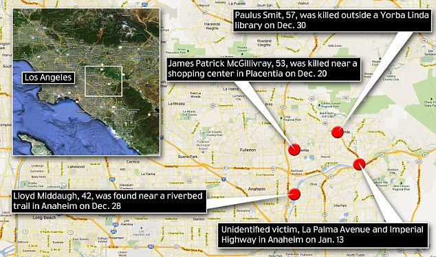 Locations: Police in Orange County, California say Ocampo is responsible for four killings since December