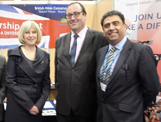 Line-up: Mr Sehgal meets Home Secretary Theresa May at the 2010 Conservative conference