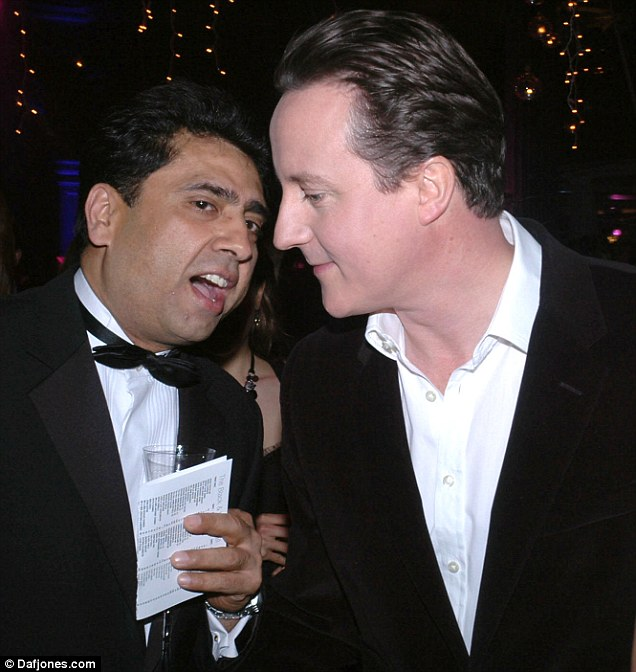 Party guest: Rickie Sehgal, chairman of British Asian Conservatives Link, with David Cameron at the Tories' Black & White Ball in 2006
