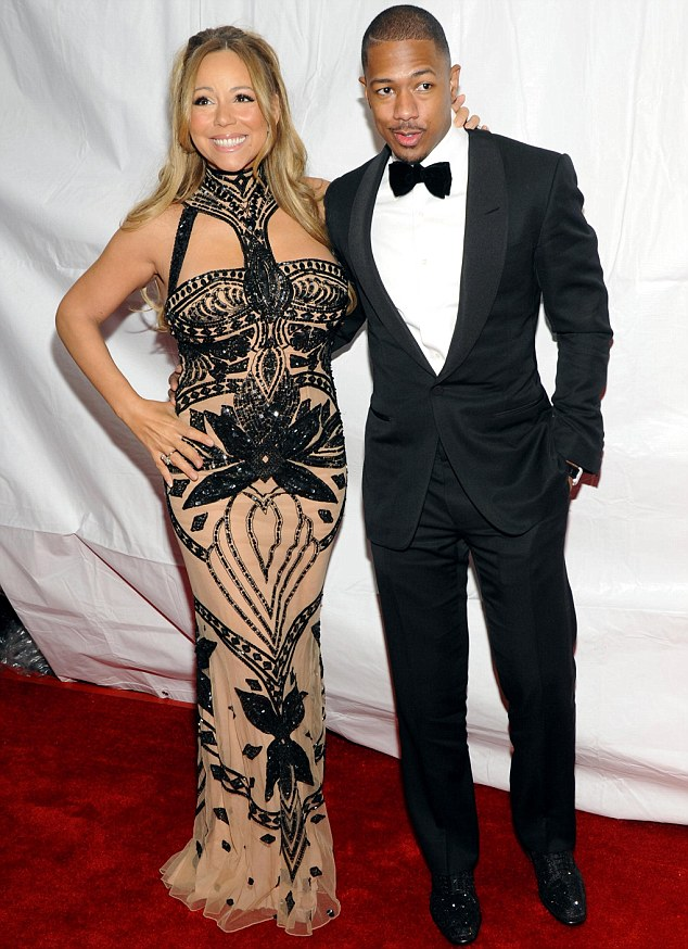 Beaming: Mariah Carey had the support of husband Nick Cannon at tonight's BET Honors in Washington D.C