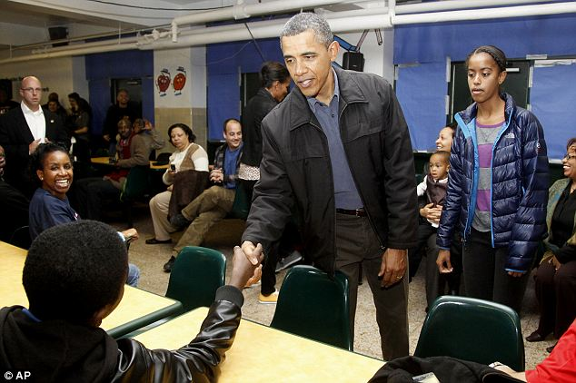 More handshaking? Really? Malia follows her father as he works the room after his remarks