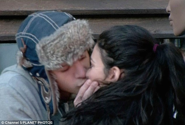 Someone looks keener than the other! Kirk Norcross goes in for a kiss with Celebrity Big Brother housemate Georgia Salpa
