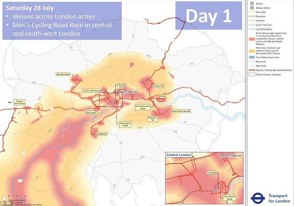 Transport for London has issued a series of maps showing the worst areas for traffic congestion around the city in a worst case scenario