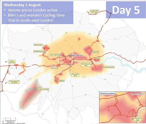 Day 5: South west London will again face disruption as the men's and women's cycling time trials take place
