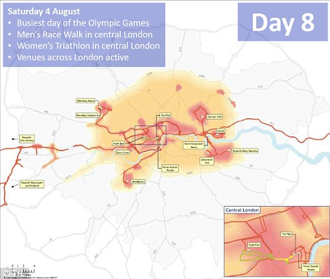Day eight: On the busiest day of the London 2012 games, a men's race walk and women's triathlon in central London will see road closures