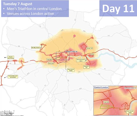 Central London is again hit by closures as the men's triathlon gets under way