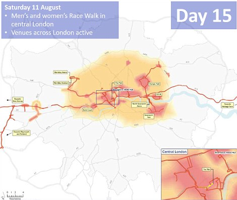 Day 15: Central London has various road closures to allow the men's and women's race walk to take place