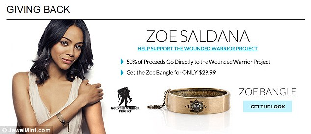 Giving Back: Actress Zoe Saldana has designed a bangle for the JewelMint range that was created by her friend Blue Crush star Kate Bosworth