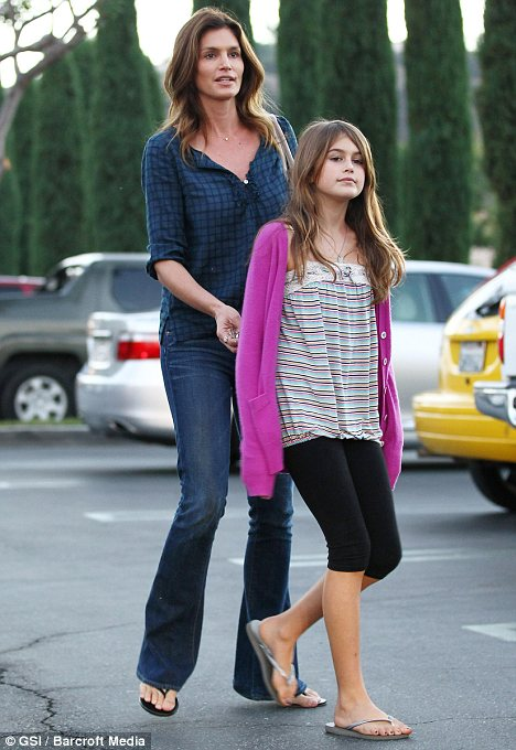 Like mother, like daughter: Ms Crawford with Kaia in Calabasas, California, last October