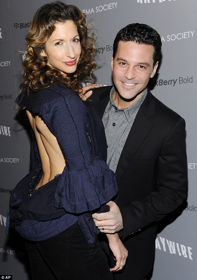 Daring look: Actor David Alan Basche and his wife Alysia Reiner were also in attendance
