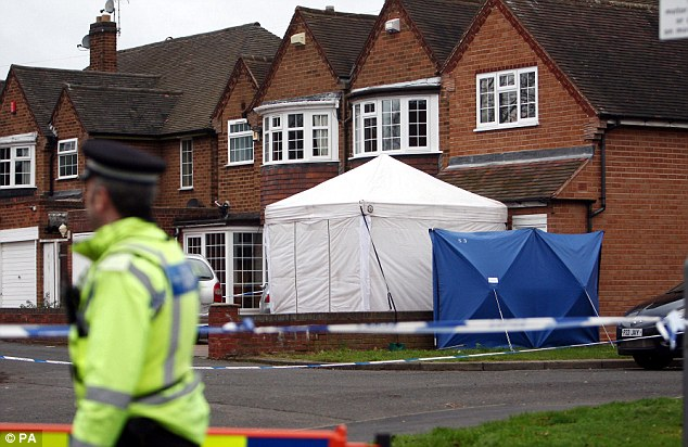 Investigation: A forensic tent sits outside the home in Handsworth Wood, Birmingham where bodies of Mr and Mrs Kolar were discovered