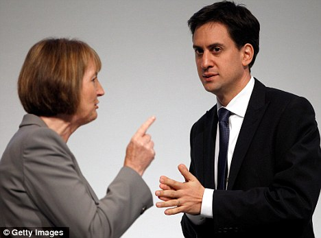 Embarrassment: Mrs Harman, Labour's deputy leader, will have caused party leader Miliband, right, unnecessary distress