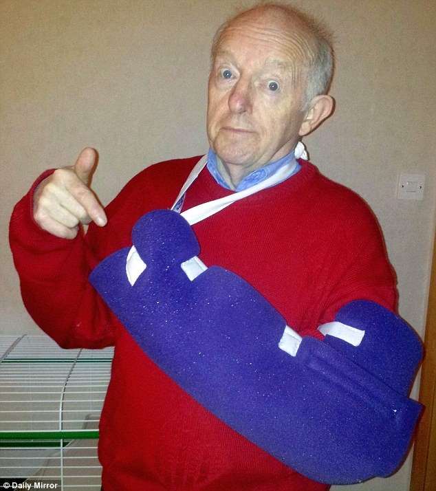 Paul Daniels, pictured shortly after being treated, has seen the funny side of chopping one of his fingers off with a circular saw