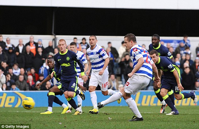 Queens Park Rangers' Heidar Helguson scores a penalty