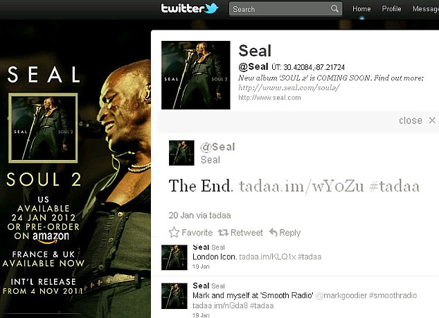 All over? Seal has left cryptic Twitter messages on his homepage