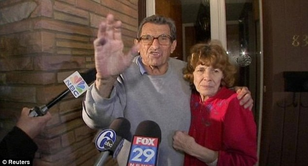 Ousted: Paterno and his wife Sue meet the preess and supporters outside his home after he was fired in November