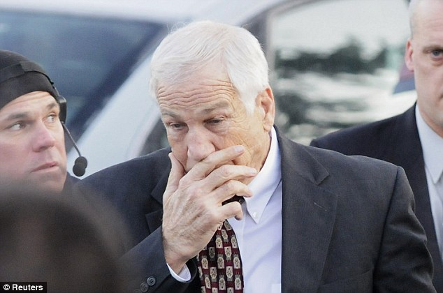Scandal: Jerry Sandusky, arriving to court on December 13, has now been found guilty of child sexual abuse