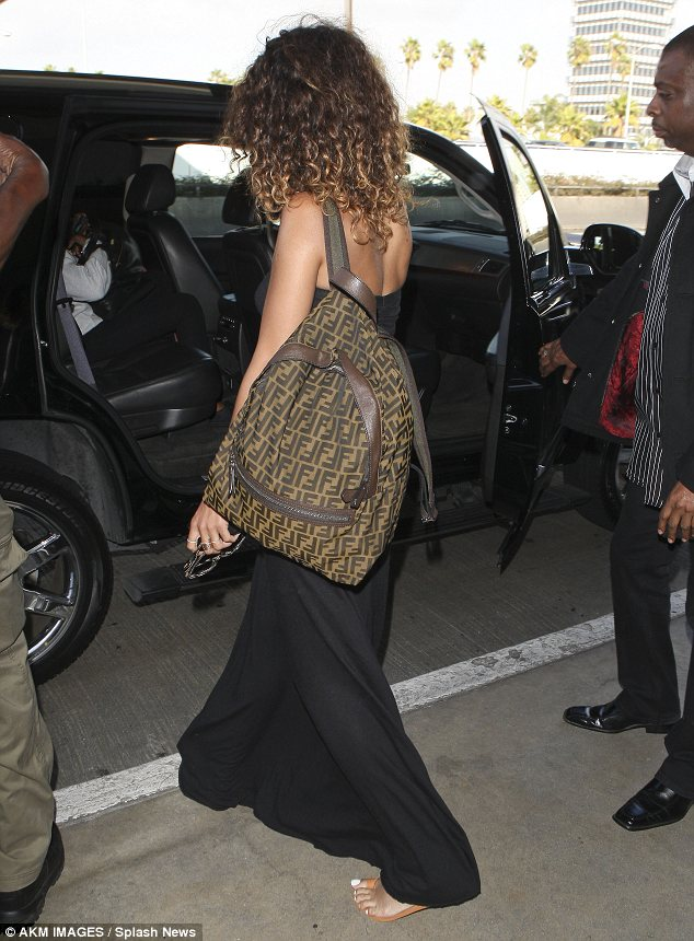 Your ride my lady: The singer was treated to the usual VIP treatment as she left the airport