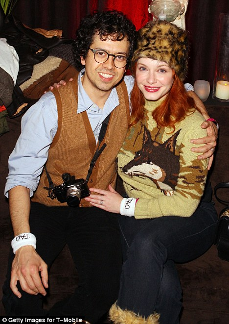 Best supporting wife: The Mad Men star tagged along with husband Geoffrey Arend, promoting his film Save the Date, at the Google Music at TAO Nightclub
