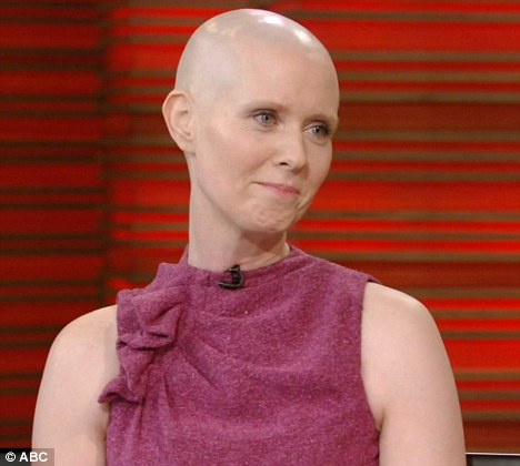 Promotional blitz: Cynthia unveiled her bald head on Live with Kelly today after shaving off her locks for Broadway show Wit