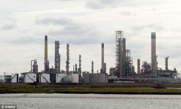 Crisis looms: MPs and forecourt bosses warned parts of the South East could 'grind to a halt' amid reports production had stopped at the giant Coryton refinery in Essex, pictured