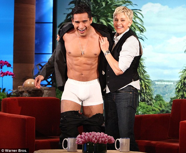Showing off: Mario Lopez stripped down to his skivvies on the Ellen DeGeneres Show today