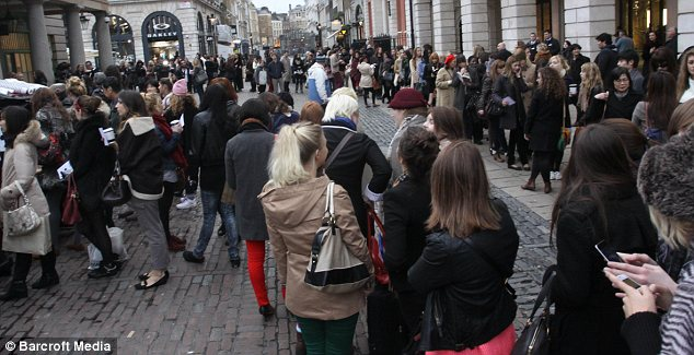 UK fan club: In London's Covent Garden hundreds queued to get a glimpse of Karls' cut-price range