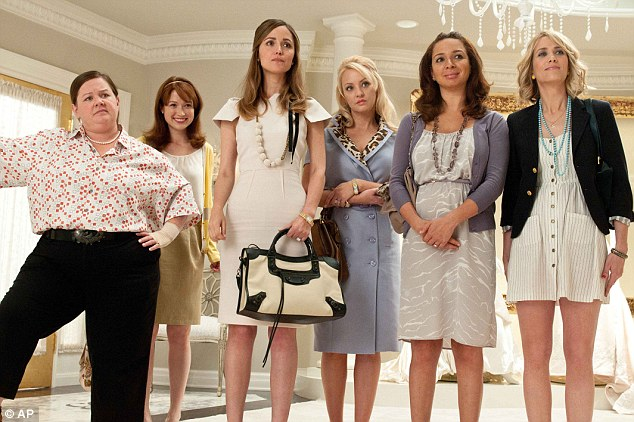 Hit: Melissa with Ellie Kemper, Rose Byrne, Wendi McLendon-Covey, Maya Rudolph and Kristen Wiig in the beloved movie