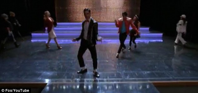 Another part of me: Criss is joined on stage by the rest of the Glee gang who are all dressed in Jackson tribute outfits