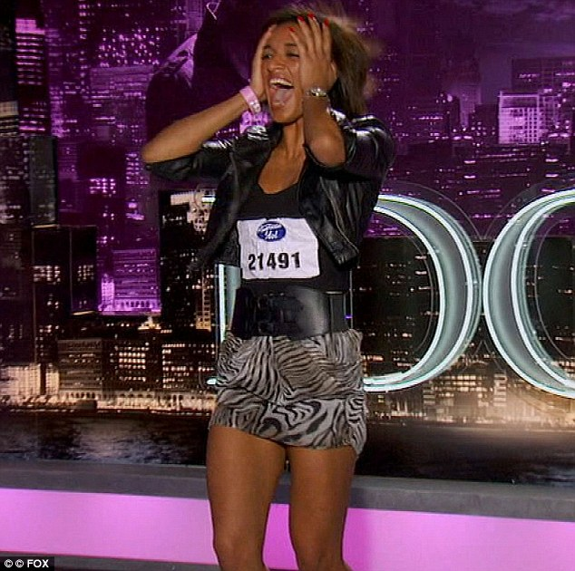 About to soil herself: Lacklustre Linda Williams was overjoyed when Steven praised her shaky performance and sent her through