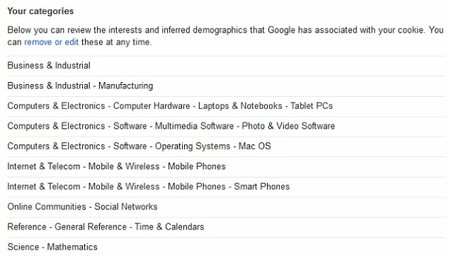 The Mashable writer's interests meant that Google Ad Preferences identified her, wrongly, as being both middle-aged and a man