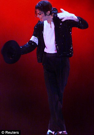 Off the wall: Blaine's glittery jacket, black trousers and white socks resembled the King of Pop's stage ensembles in his heyday