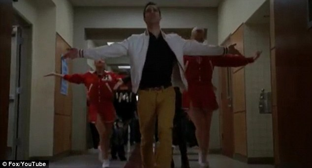 One day in your life: Brittany and Santana provide Blaine with some backing dancing at the start of the performance