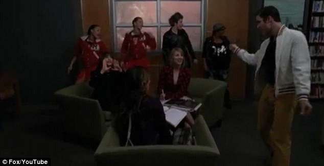 The way you make me feel: Criss takes his moves into the library where he joins Rachel and Quinn who sing backing vocals
