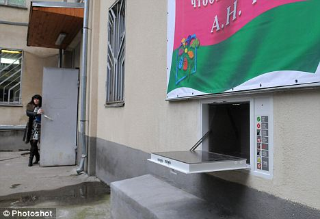 From the outside the Sochi baby box is advertised with a massive banner