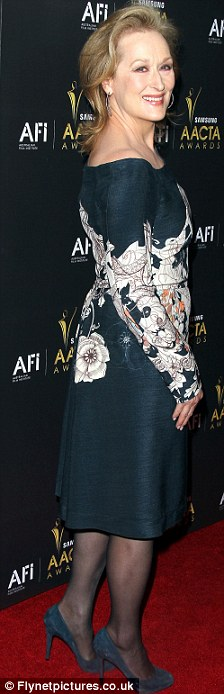 Looking lovely: The 62-year-old actress wore a Cacharel frock to the awards ceremony at Soho House