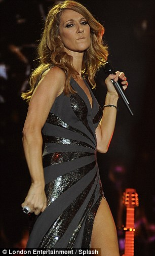 Fist pumping: Celine put in her usual powerful performance on stage