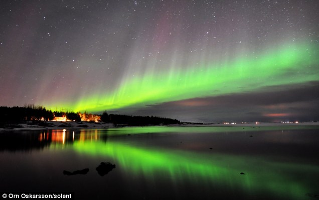 The Northern Lights were captured on camera this week in Southern Iceland