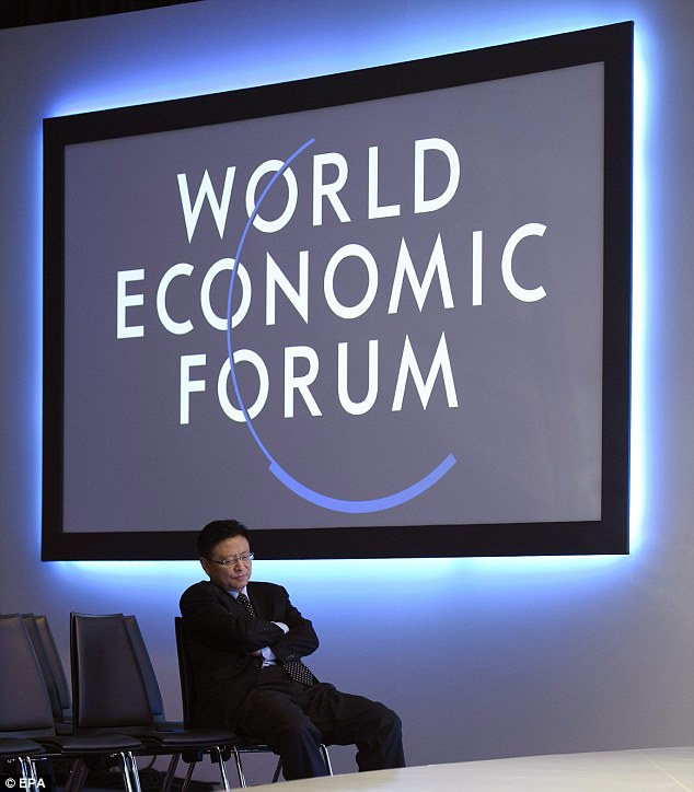 A man sleeps before a panel session at the World Economic Forum summit in Davos, Switzerland, where Prince Andrew this week gave his speech