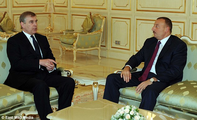 Controversial: Prince Andrew (left) has held a one-to-one meeting with President Ilham Aliyev (right), the billionaire dictator of Azerbaijan