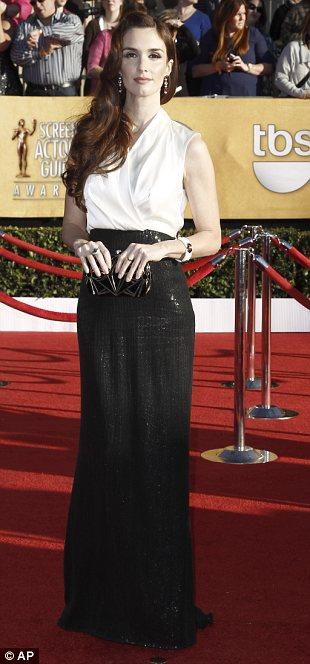 Black and white: The Good Wife star Julianna Margulies donned glittering white Paz Vega opted for monochrome