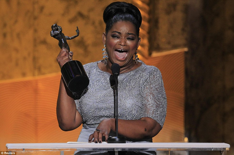 Tearful: Octavia Spencer wept tears of joy when she won the SAG for Outstanding Performance by a Female Actor in a Supporting Role for The Help in Los Angeles on Sunday night