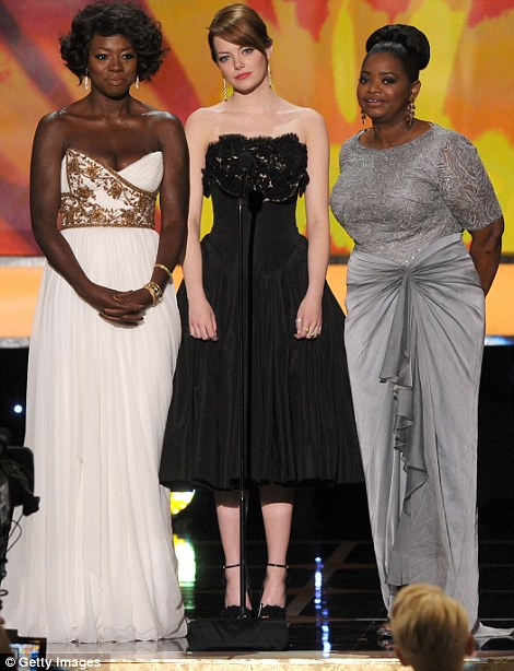 Old friends: The Help cast mates Viola Davis, Emma Stone and Octavia Spencer introduced their film while Dallas co-stars Patrick Duffy, Linda Gray and Larry Hagman took on presenting duties