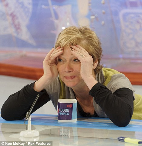 Shamefaced: Denise seen on Loose Women today, cringed when they showed footage of her topless in the Big Brother house