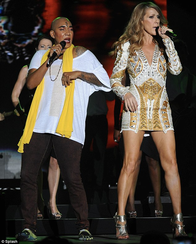 Local hospitality: Celine was joined on stage by some Jamaican music artists