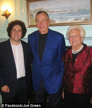 Politically active: Mr Green posted photos of him with both President Obama (who was campaigning at the time) and former President George HW Bush and former first lady Barbara Bush (right)
