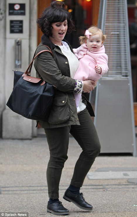 Mummy and me: The actress' one-year-old daughter Eliza looked gorgeous in her all-pink outfit